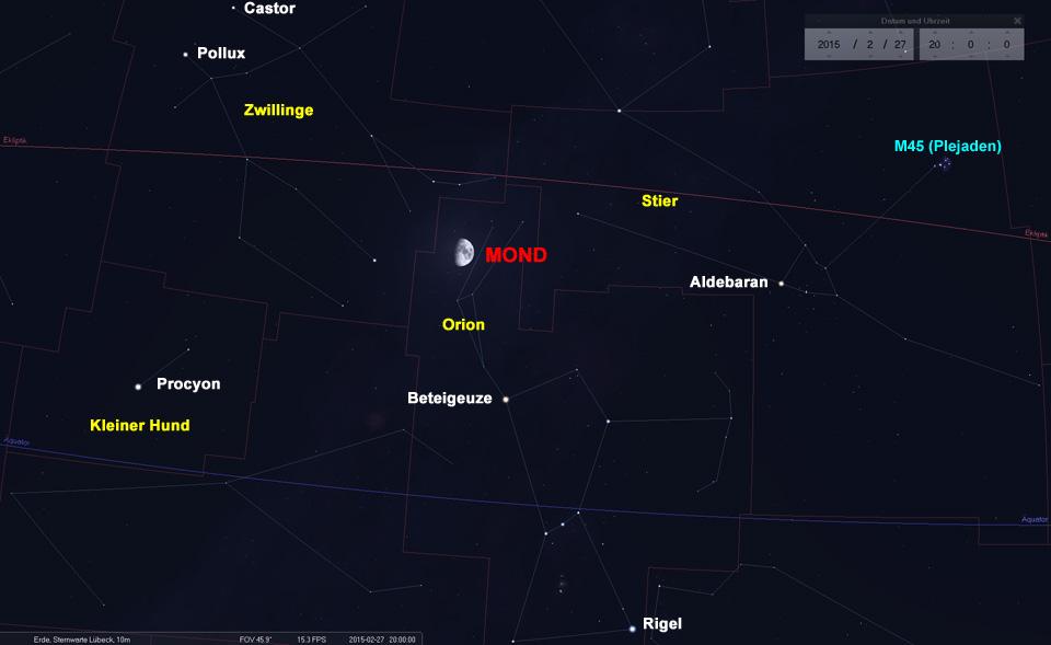 Der Mond im Sternbild Orion. Ob das etwas zu bedeuten hat?