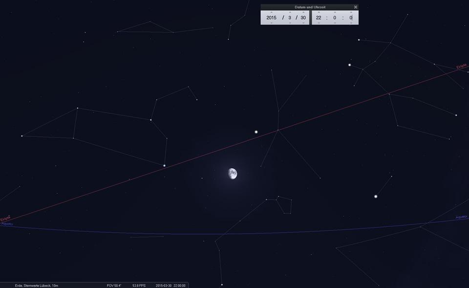 20.03.: Der Mond bewegt sich schnell weiter und bildet heute ein Dreieck mit Jupiter und Regulus