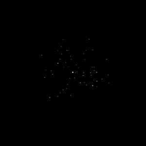 Der offene Sternhaufen M 45 (Plejaden) im Sternbild Stier, so wie er in einem kleinen 80mm Refraktor mit 16-facher Vergrößerung zu sehen ist