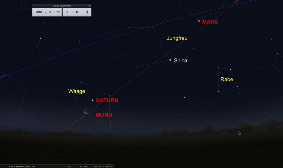 Konjunktion Mond und Saturn am 29.12.2013
