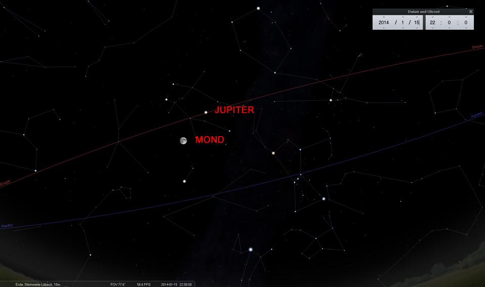 Konjunktion zwischen Mond und Jupiter am 15.01.2014