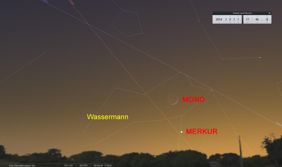 Konjunktion Mond und Merkur am 01.02.2014