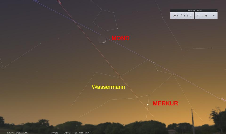 Konjunktion Mond und Merkur am 02.02.2014