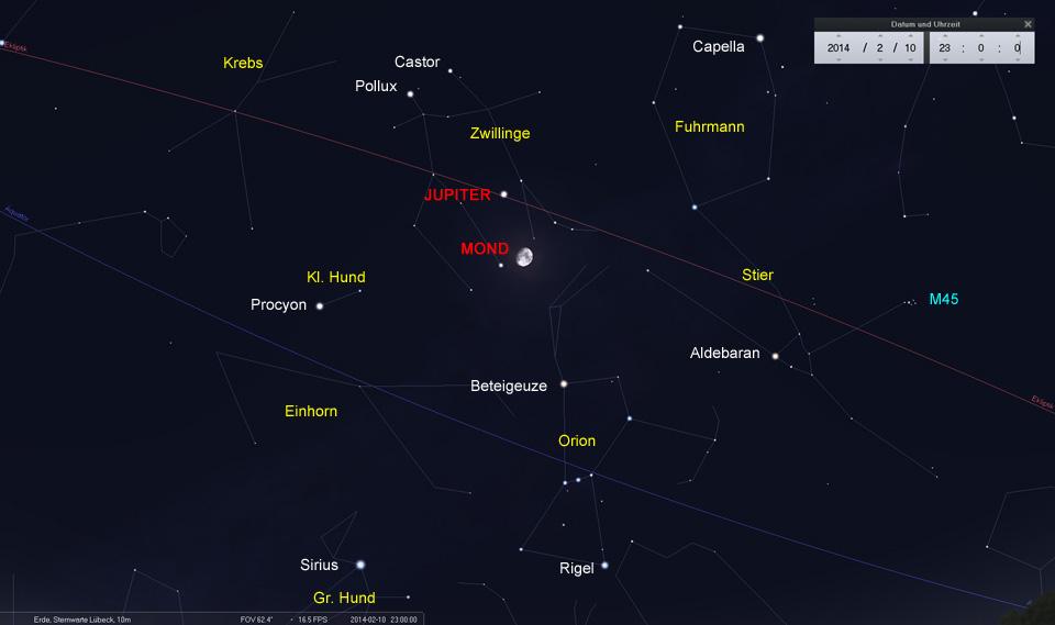 Konjunktion zwischen Mond und Jupiter am 10.02.2014