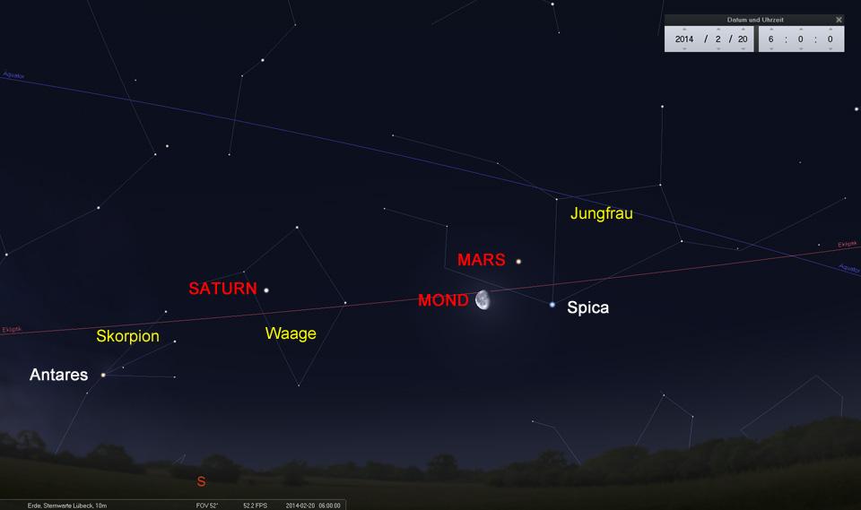 Der Mond bildet ein Dreieck mit Mars und Spica