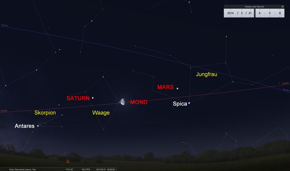 Der Mond auf dem Weg ins Sternbild Waage zwischen Mars und Saturn