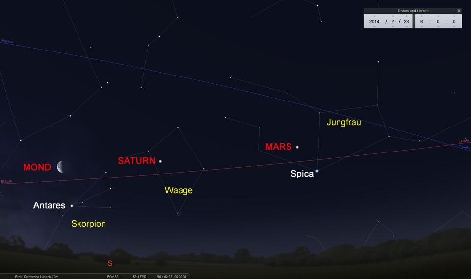Zum Abschluss steht der Mond nördlich des Antares im Skorpion
