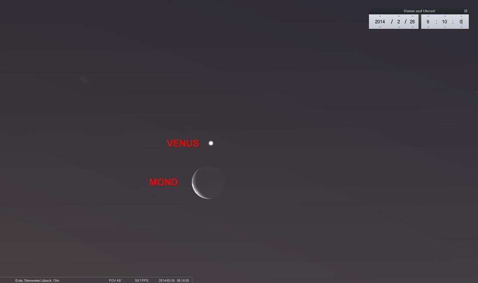 Nicht zu übersehen am Südost-Horizont: Die schmale Mondsichel und Venus als glänzender Morgenstern
