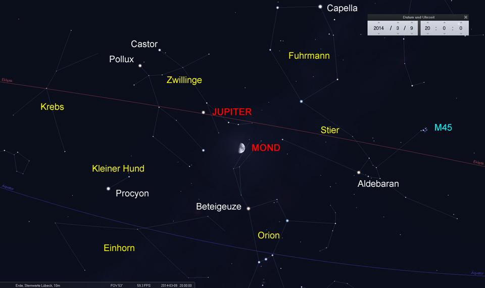 Konjunktion zwischen Mond und Jupiter am 09.03.2014