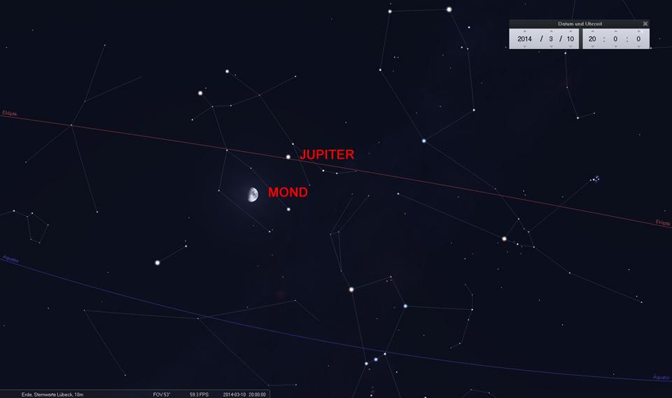Konjunktion zwischen Mond und Jupiter am 10.03.2014