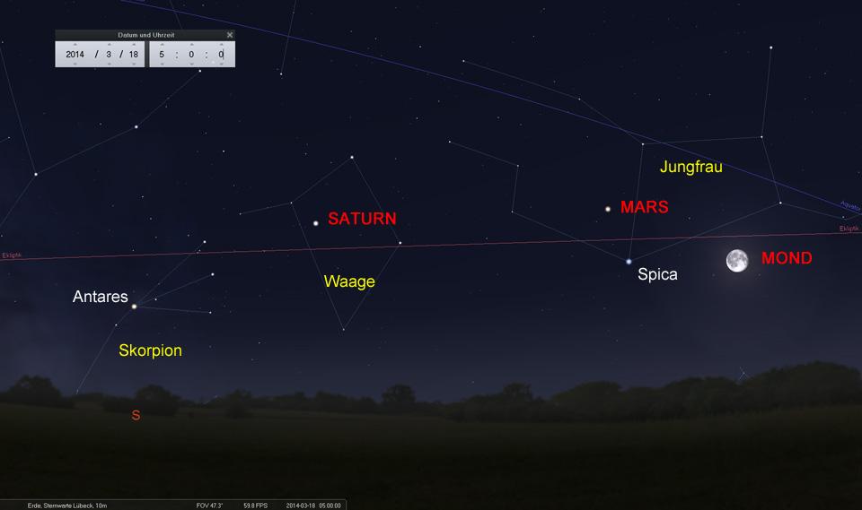 Der abnehmende Mond als Wegweiser: Am 18.03. östlich von Mars und Spica in der Jungfrau