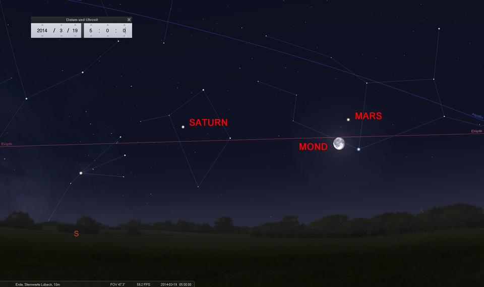 Der abnehmende Mond als Wegweiser: Am 19.03. knapp westlich von Mars und Spica