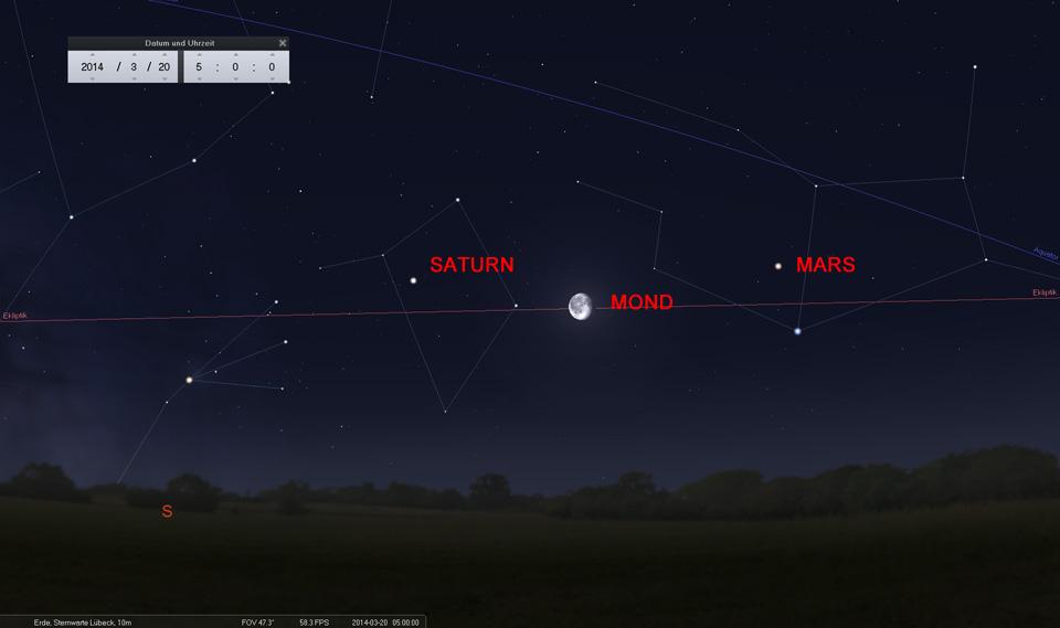 Der abnehmende Mond als Wegweiser: Am 20.03. zwischen Saturn und Mars