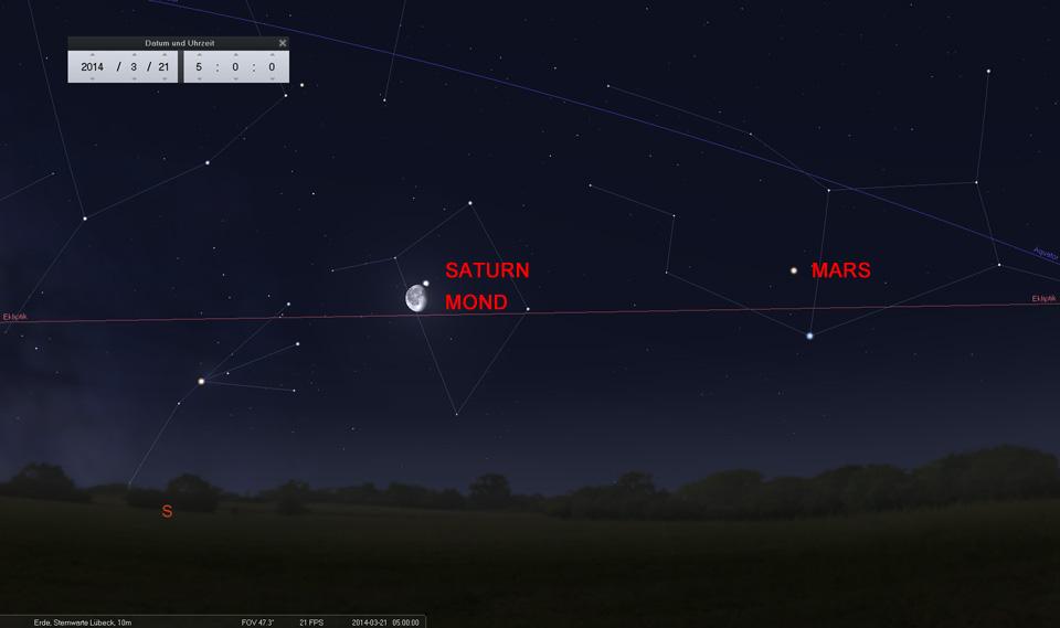 Der abnehmende Mond als Wegweiser: Am 21.03. ganz nah bei Saturn in der Waage
