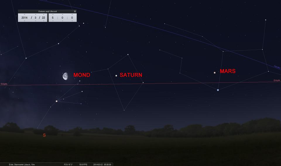 Der abnehmende Mond als Wegweiser: Am 22.03. nördlich von Antares im Skorpion