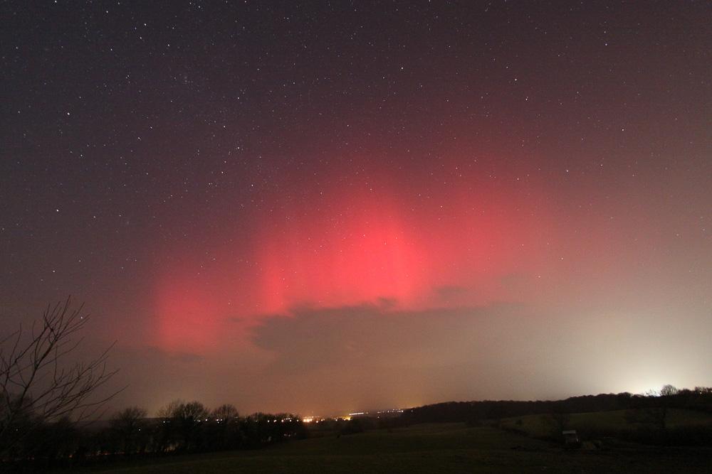 Am Abend des 27. Februar 2014 erschien am Lübecker Himmel ein schönes Polarlicht, das hellste seit Jahren. (Torsten Lohf)