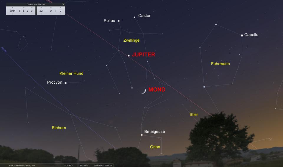 03. Mai: Die schmale Mondsichel erreicht die Zwillinge und nähert sich Jupiter