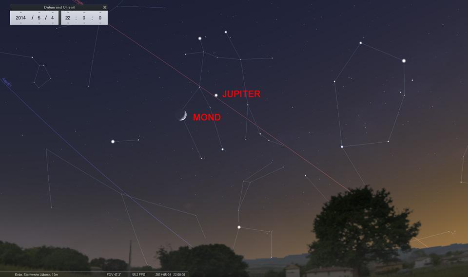 04. Mai: Mond und Jupiter schmücken die Abenddämmerung