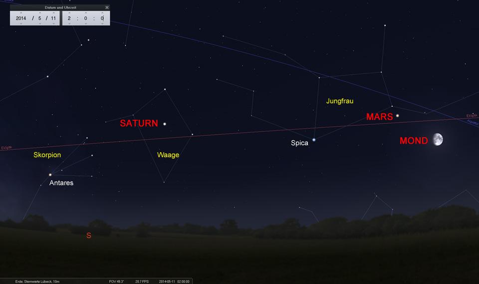 11. Mai: In der zweiten Nachthälfte dominiert der Mond mit vier hellen Gestirnen den Südhimmel