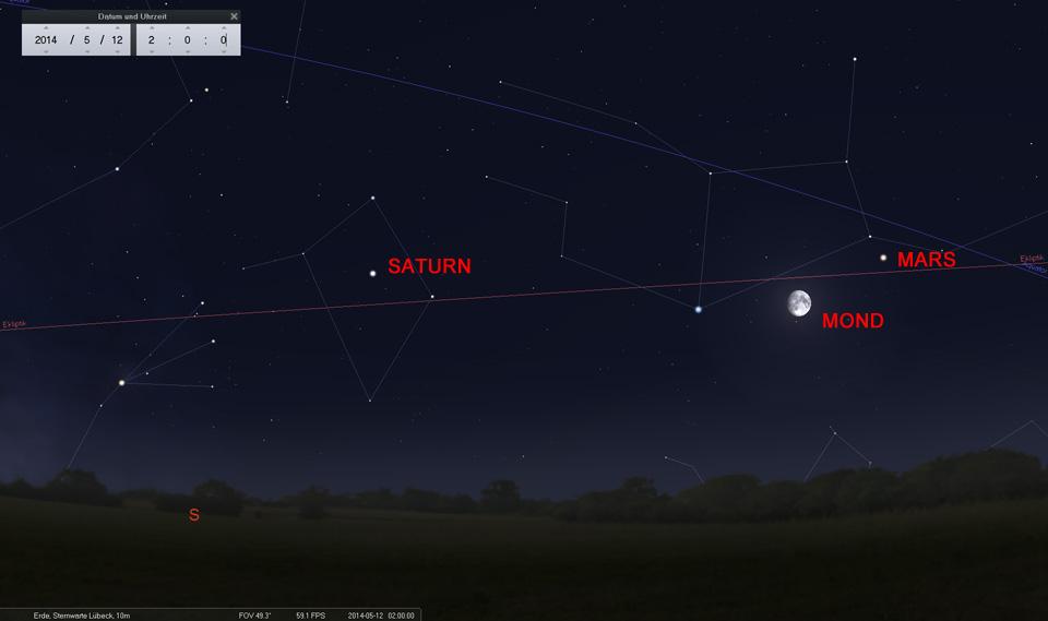 12. Mai: Der Mond steht genau zwischen Mars und Spica, Hauptstern der Jungfrau