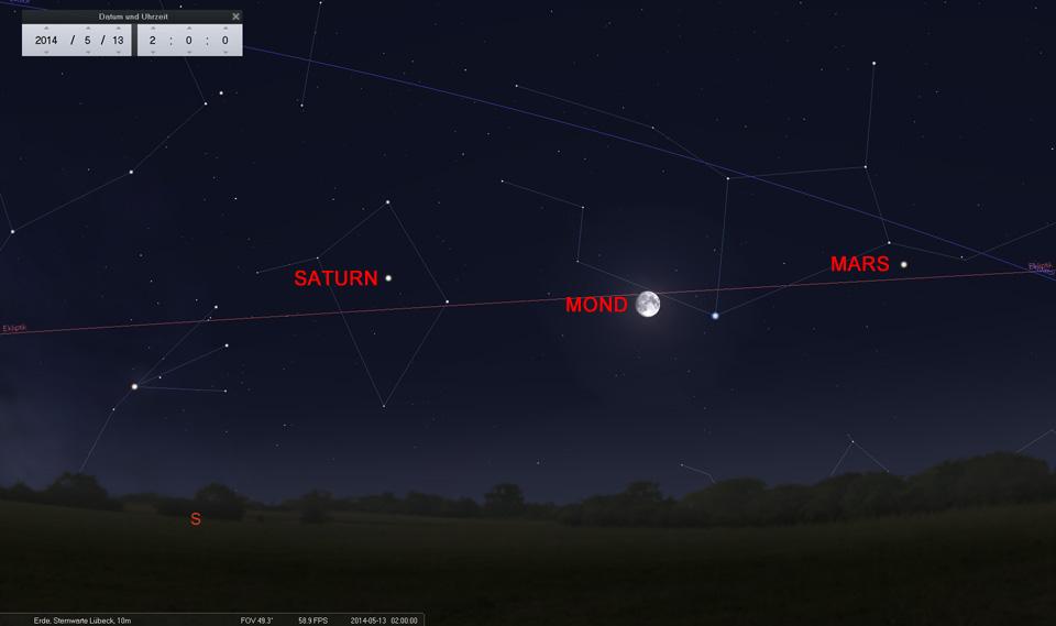 13. Mai: Der Mond ist an Spica vorbei gezogen und strebt auf das Sternbild Waage zu