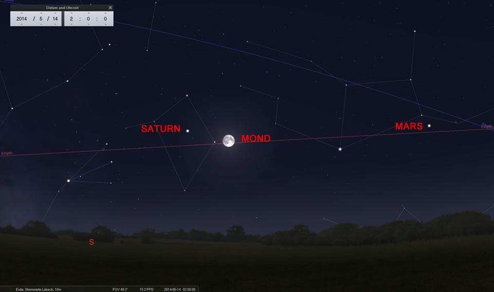 14. Mai: Kurz vor Vollmond (heute Abend um 21:16 MESZ) hat der Erdtrabant den Saturn fast erreicht