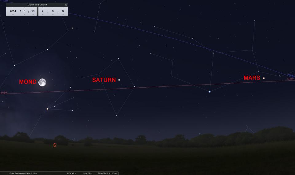 16. Mai: Zu guter Letzt - der Mond nördlich von Antares im Skorpion