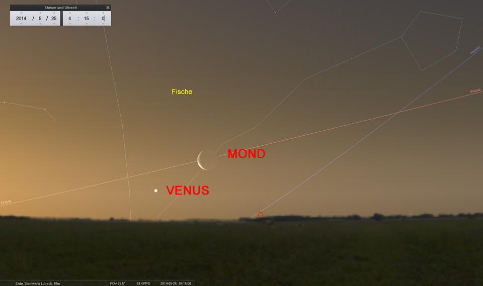 25. Mai: Die schmale Mondsichel und Venus - immer wieder ein schöner Anblick!