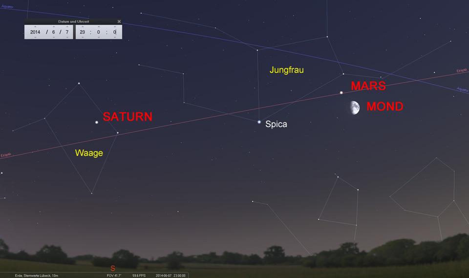 07.06.: Mond und Mars in der Jungfrau - ganz in der Nähe von Spica und Saturn