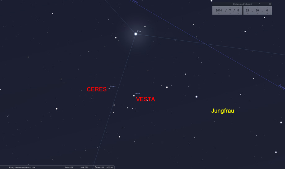 05. Juli: Zwei Asteroiden direkt unterhalb von Zeta Virginis