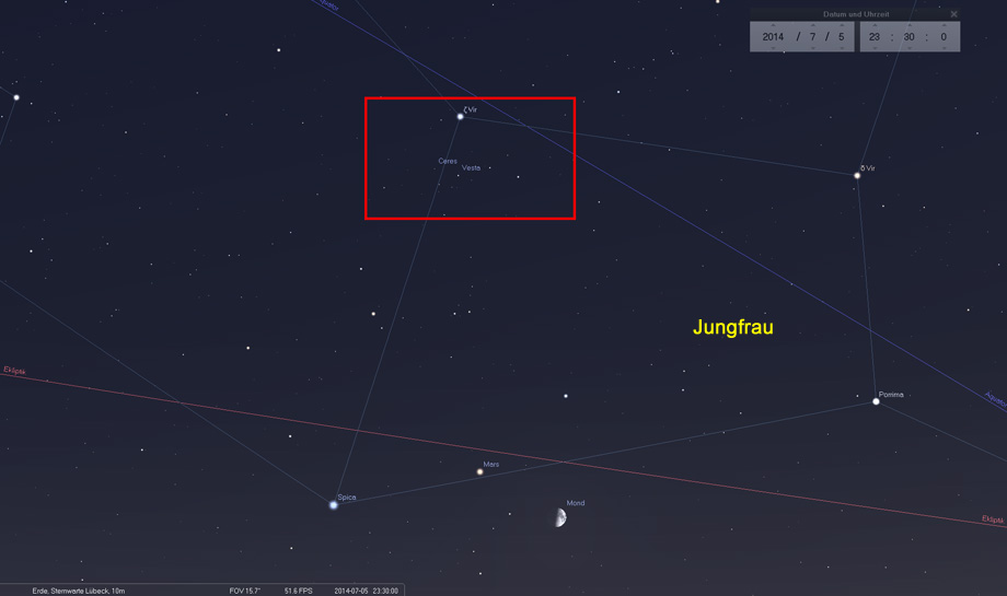 05. Juli: Nördlich von Mond, Mars und Venus sind Ceres und Vesta in Blickfeld eines Fernglases beobachtbar