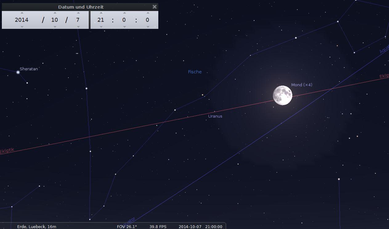Uranus in Opposition, dicht beim fast vollen Mond