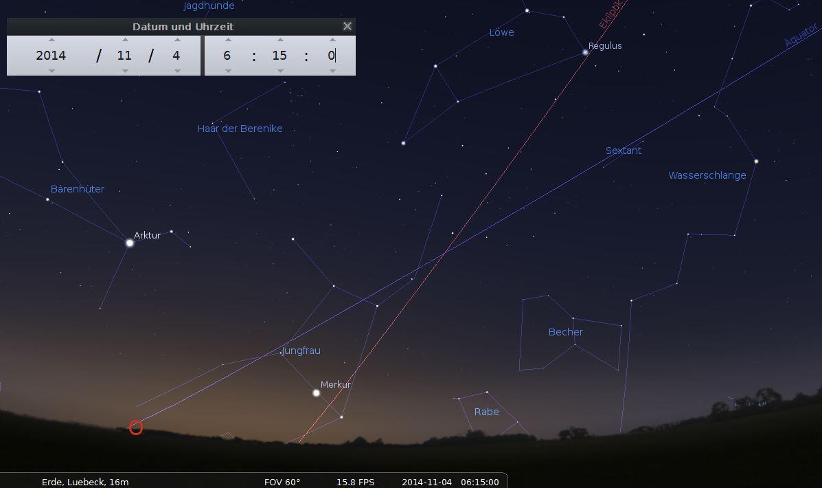 Merkur ist bis Mitte November 2014 gut über dem östlichen Morgenhimmel zu sehen.