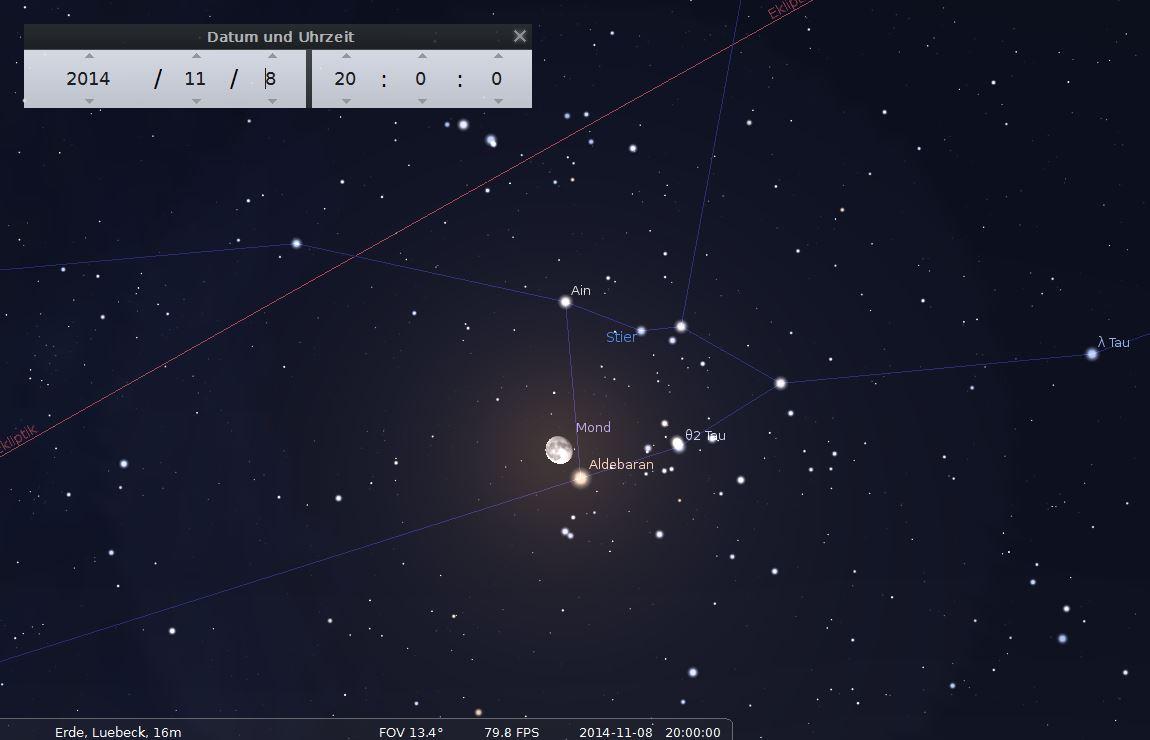 """Am Abend des 8. November 2014 befindet sich der Mond dicht beim hellen Stern """"Aldebaran""""."""