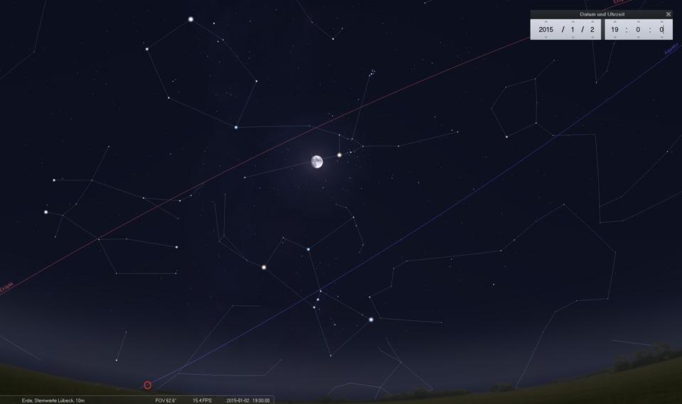 Am 02.01.2015 befindet sich der Mond östlich von Aldebaran im Stier. Bald - am 05.01. - ist der erste Vollmond des Jahres.