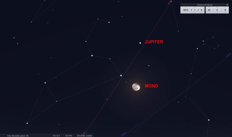 Am 08.01.2015 steht der Mond unterhalb des Jupiter unweit Regulus, Hauptstern des Sternbildes Löwe.
