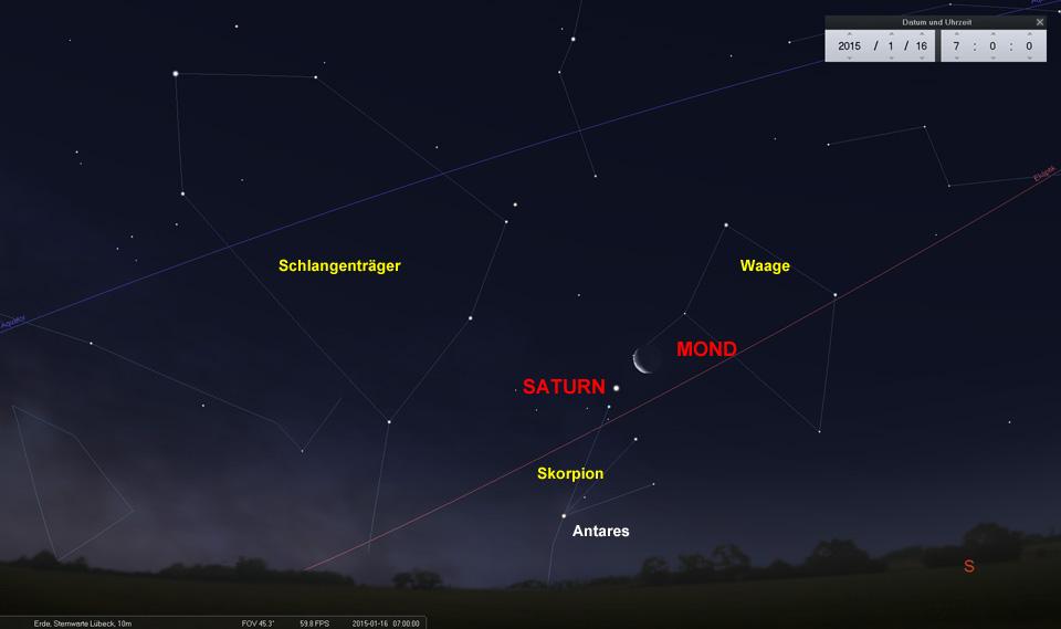Noch ist es lange genug dunkel, um Mond, Saturn und Antares zu einer zivilen Zeit im Südosten zu beobachten.
