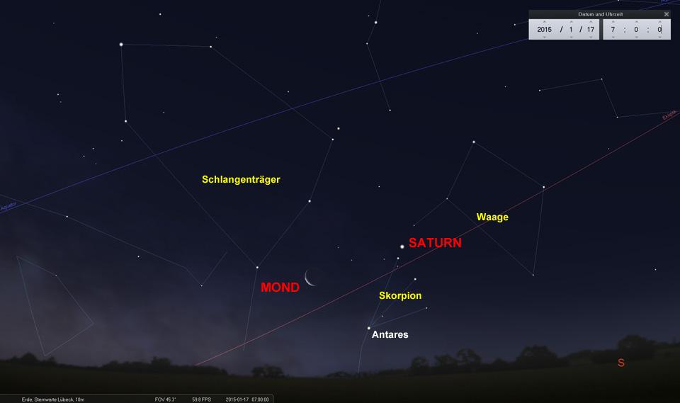 Am 17.01. bilden die drei ungleichen Himmelskörper ein schönes Dreieck.