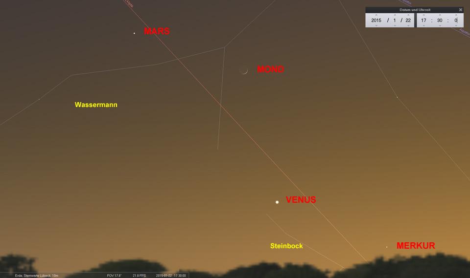Am 22.01. ist die Mondsichel nicht mehr zu übersehen.