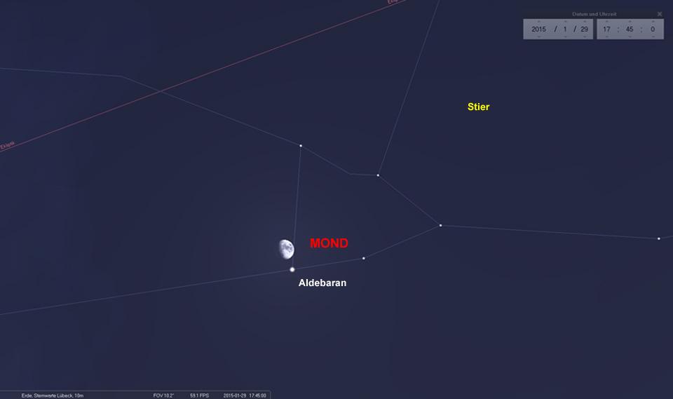 Knappe Geschichte: Am 29.01. kommt es fast zu einer Bedeckung des Aldebaran durch den Mond.