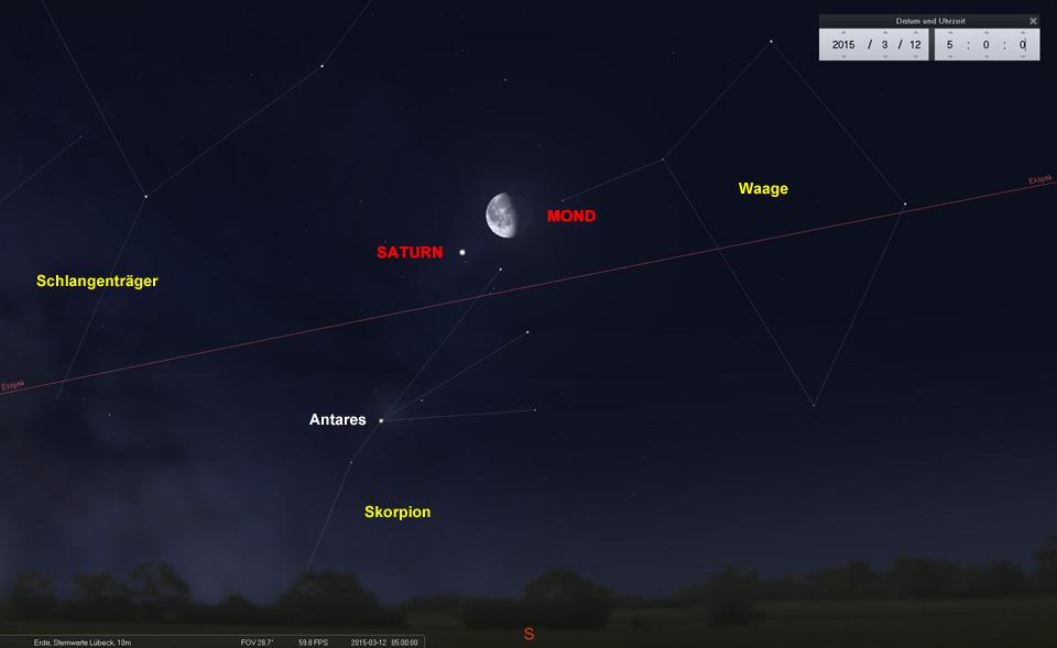 Konjunktion zwischen Mond und Saturn am Südhimmel