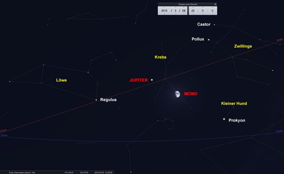 29.03.: Mond und Jupiter umringt von hellen Sternen