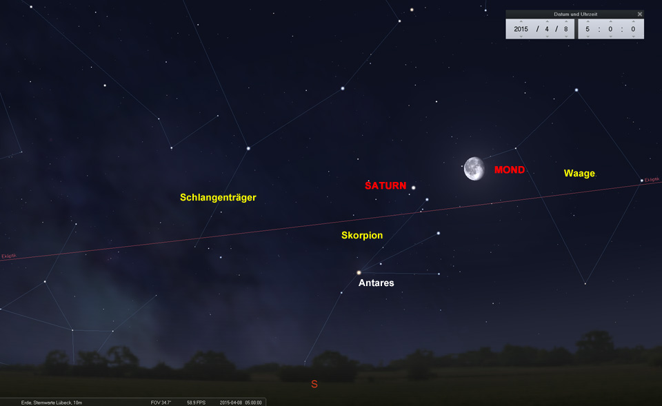 Am 08.04. nähert sich der Mond aus Richtung Waage...