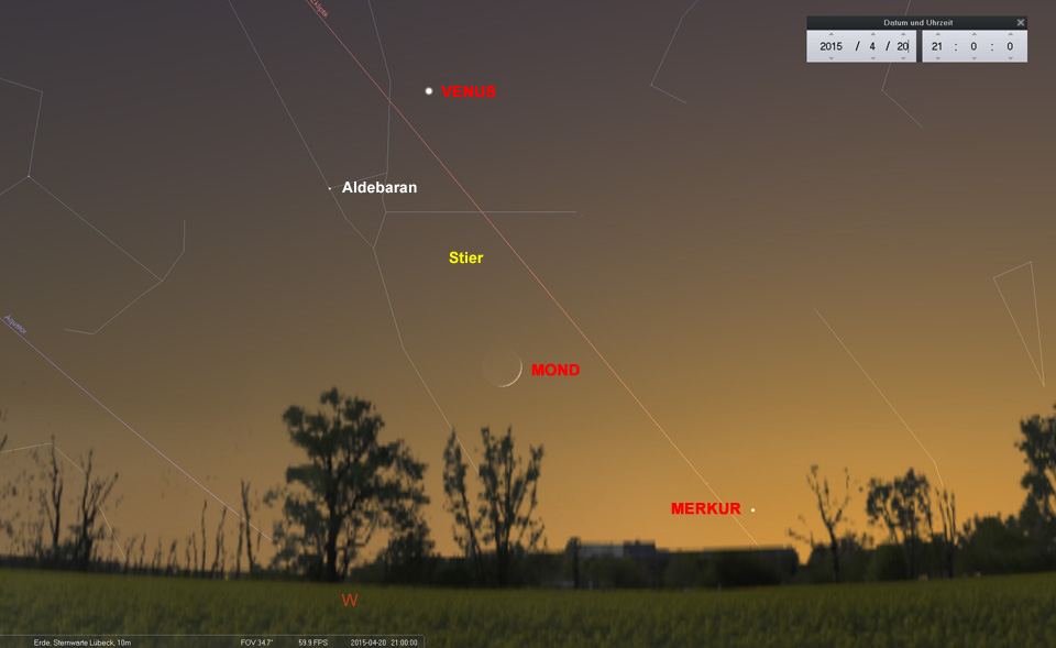 Mond und Venus sind gut zu sehen - hoffentlich verschwinden Merkur und Aldebaran nicht im Dunst...