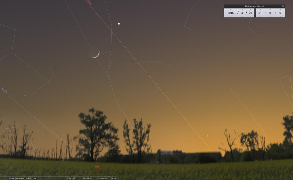 Am 21.04. kommt es zu einer sehr engen Begegnung zwischen Mond und Aldebaran...