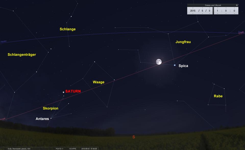 Spica in der Jungfrau ist der einzige hellere Stern in dieser Gegend. Saturn und Antares sind gerade aufgegangen.