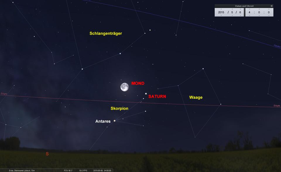 Der Mond durcheilt die nördlichen Gebiete des Skorpion und begegnet dabei Saturn und Antares