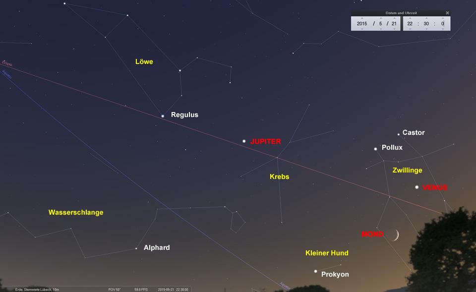 Tag 1: Der Mond im Sternbild Zwillinge unterhalb der strahlend hellen Venus