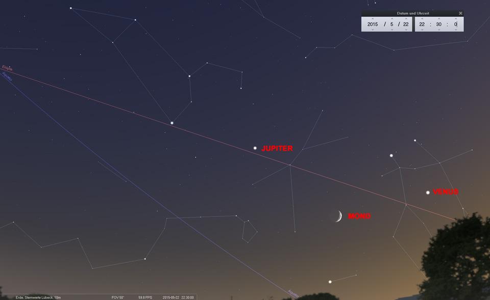 Tag 2: Auf dem Weg Richtung Krebs steht der Mond fast genau zwischen Castor/Pollux und Prokyon bzw bildet ein Dreieck mit Venus und Jupiter