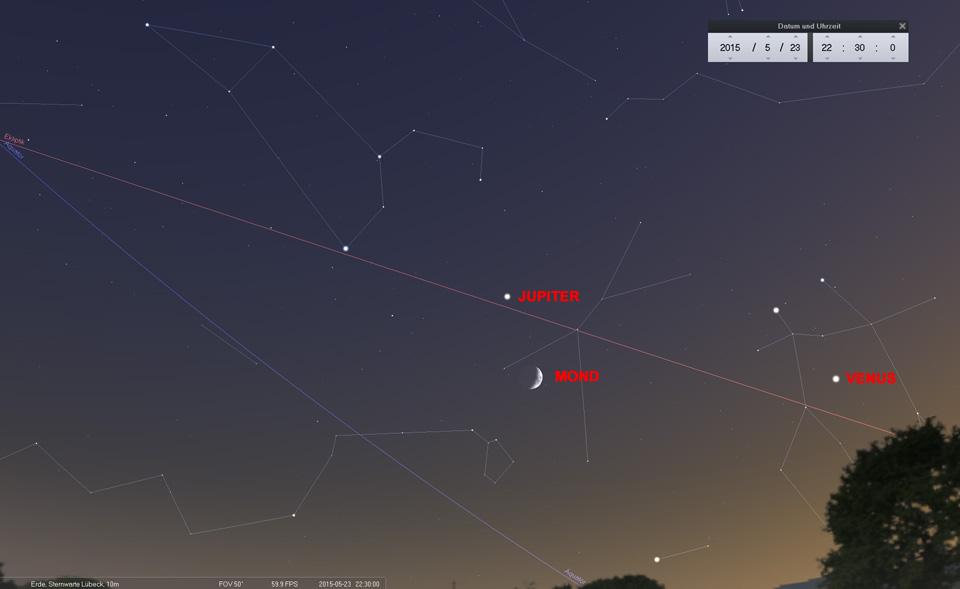Tag 3: Der Mond ist im Krebs angekommen und zieht südlich am Jupiter vorbei